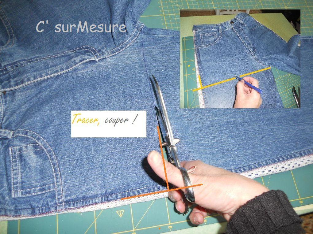 péparation du sac dans le haut du jean !