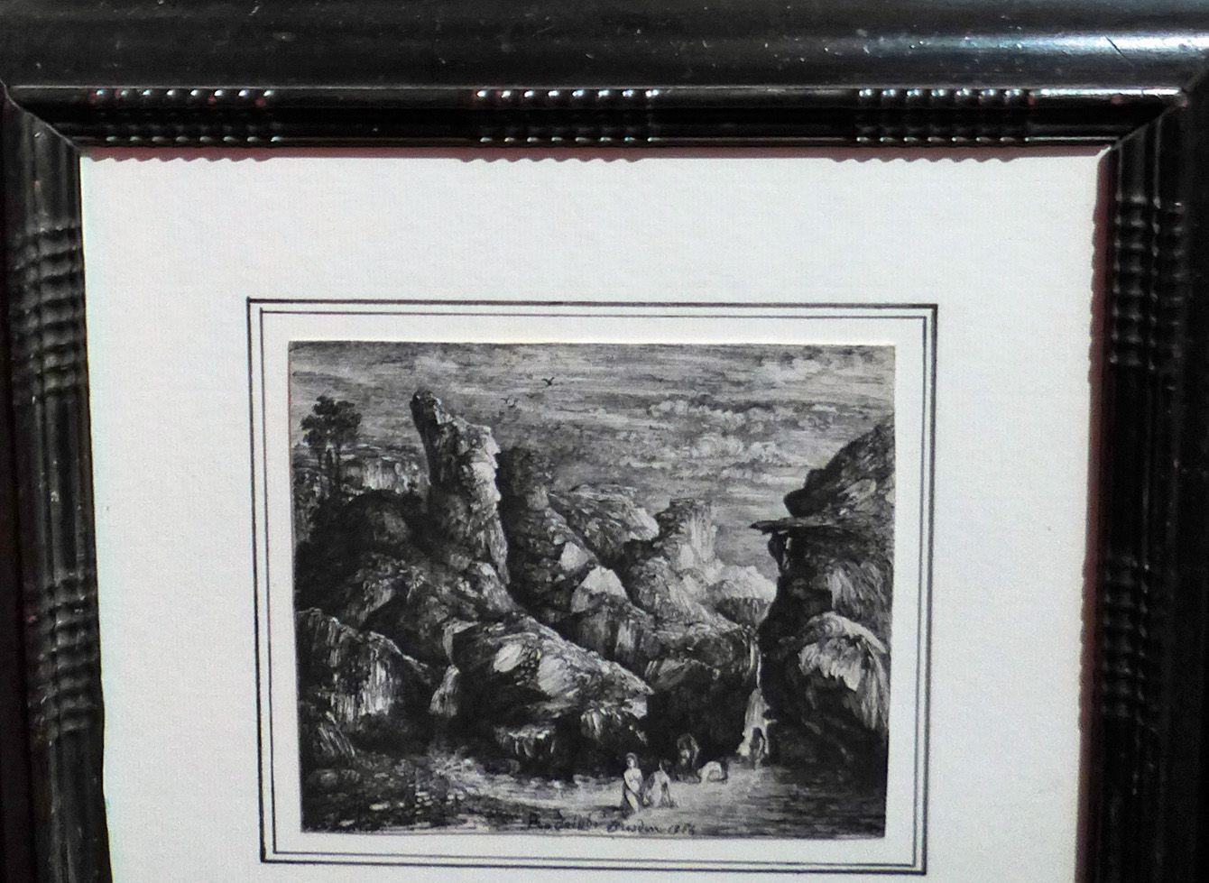 Rodeolphe BRESDIN, Femmes se baignant dans une rivière entourée de falaises rocheuses (plume et encre de Chine sur bristol)