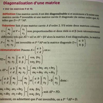 POST BAC - Diagonalisation d'une matrice