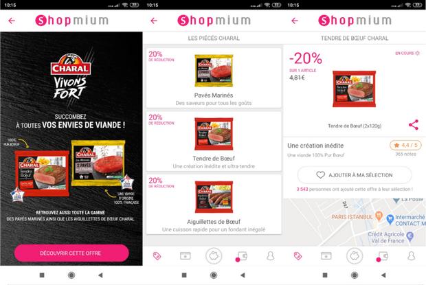 Quelques exemples de réductions disponibles sur Shopmium et de notre compte (captures d'écran de l'application) @ Tests et Bons Plans