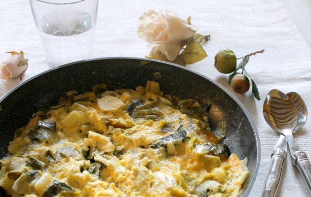 Omelette aux poireaux citronnés