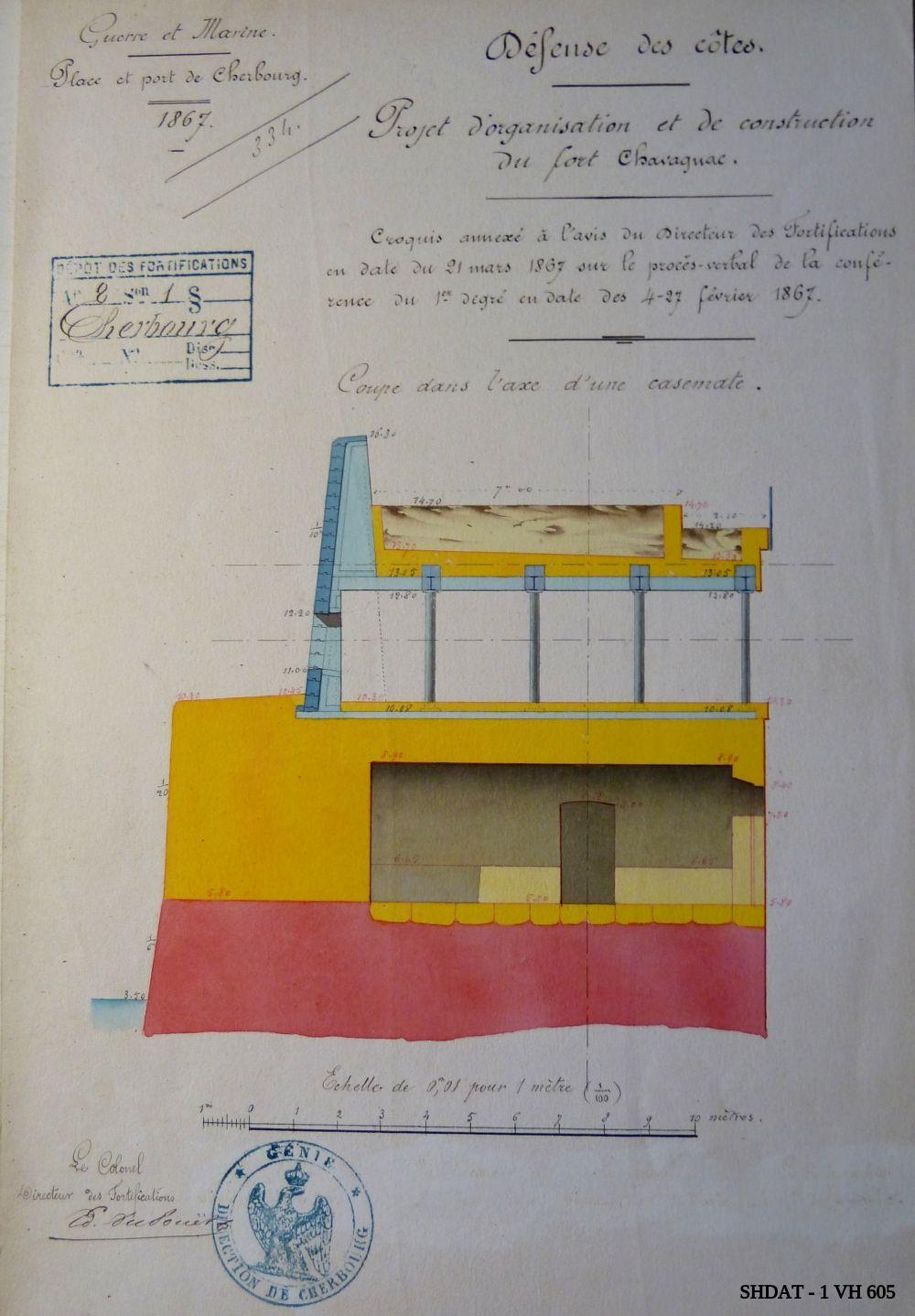 Fort Chavagnac : propositions diverses pour les cuirassements, février-mars 1867 (© Service historique de la Défense)