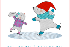 ALC-Broderie Lapin et ours patineurs