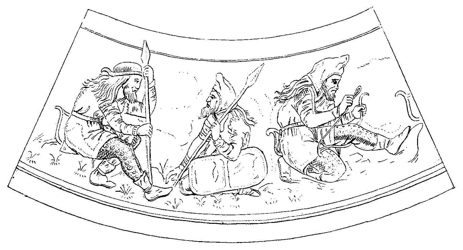 Guerriers scythes, d'après une représentation sur un vase en or du kourgane de Koul-Oba (Crimée).