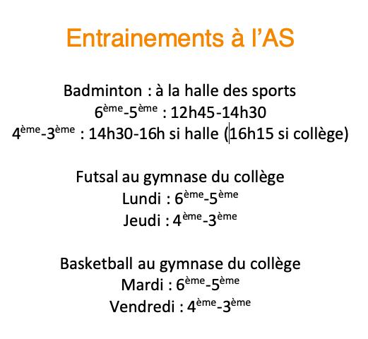Entrainements de l'AS en gymnase : horaires