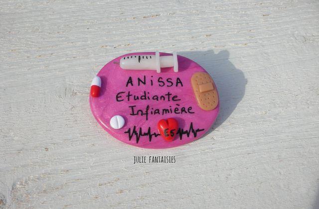Badge médical pour Anissa, étudiante infirmière