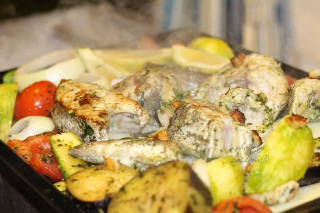 Poisson Grillé aux Herbes(Grilled Fish with vegetables)