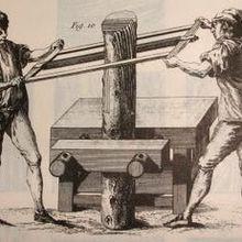22. Couper le bois en planches ou tranches .