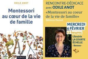 """Mercredi 6 février, La Courte Échelle - Rencontre avec Odile Anot, auteure de """"Montessori au coeur de la vie de famille"""""""
