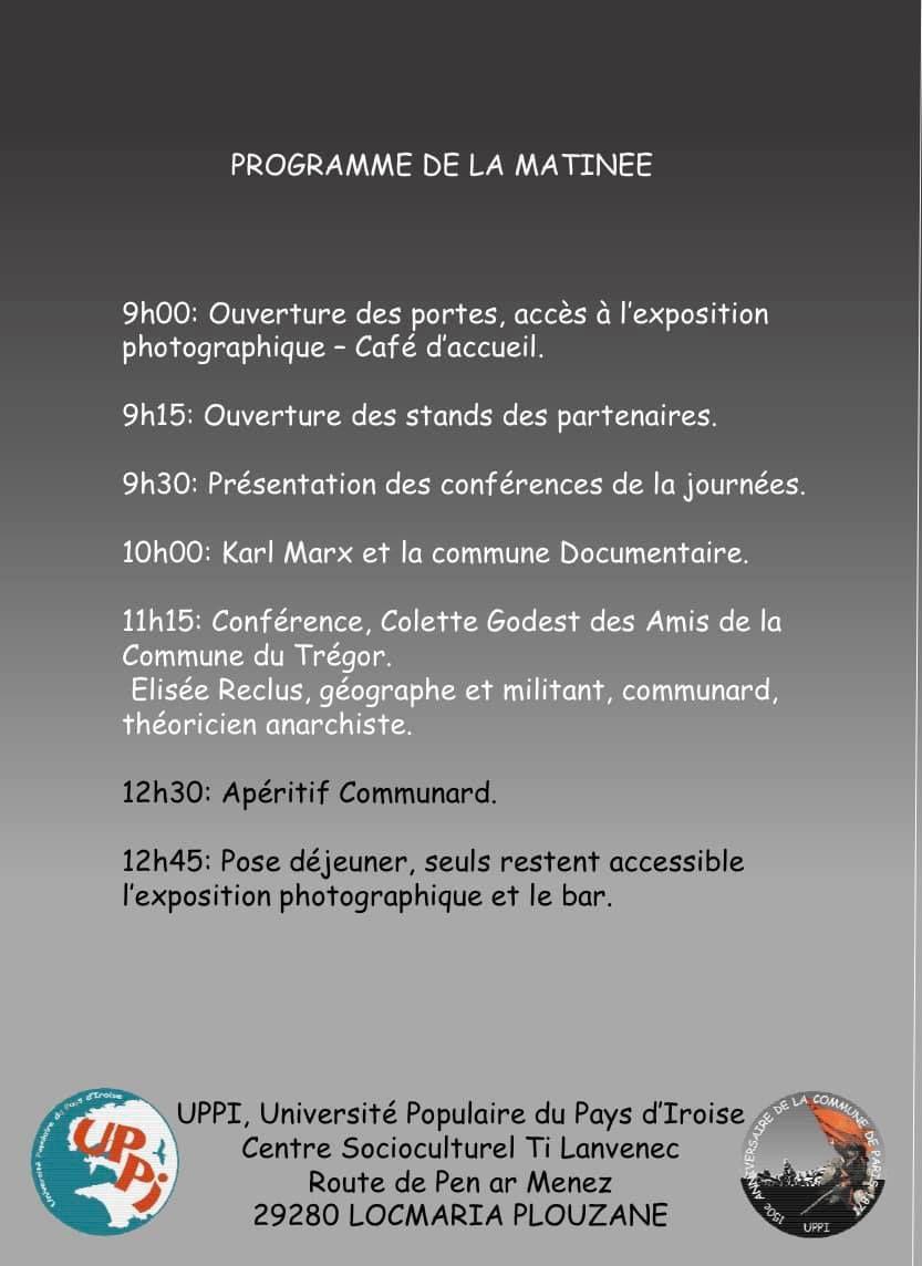 Dimanche 26 septembre - Locmaria Plouzané, l'Université Populaire du Pays d'Iroise fête les 150 ans de la Commune