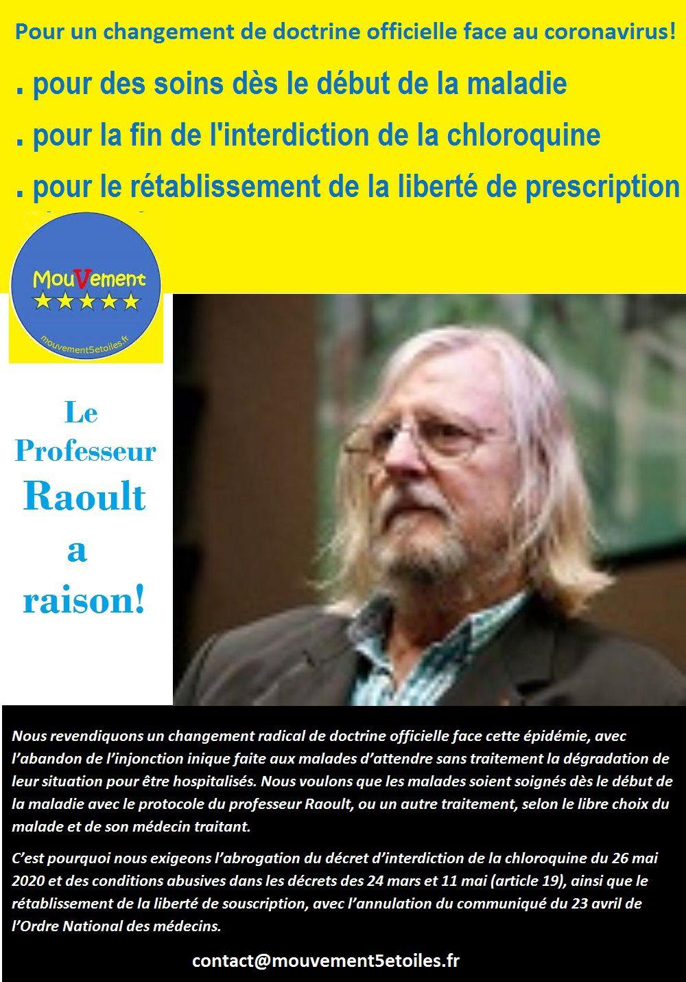 Stand Raoult organisé par le Mouvement 5 étoiles pour défendre le Professeur Raoult et l'honnêteté de la médecine