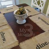 Day 25: Stenciled Burlap Placemats