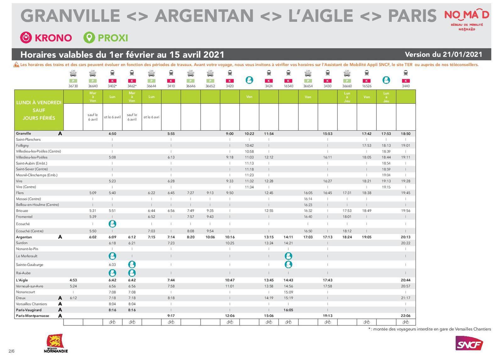 Granville > Paris du 1er février au 15 avril - version 21.01.2021