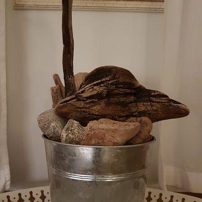 Echassier en bois flotté sur son socle