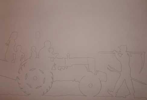 Girouette autour du tracteur Fordson