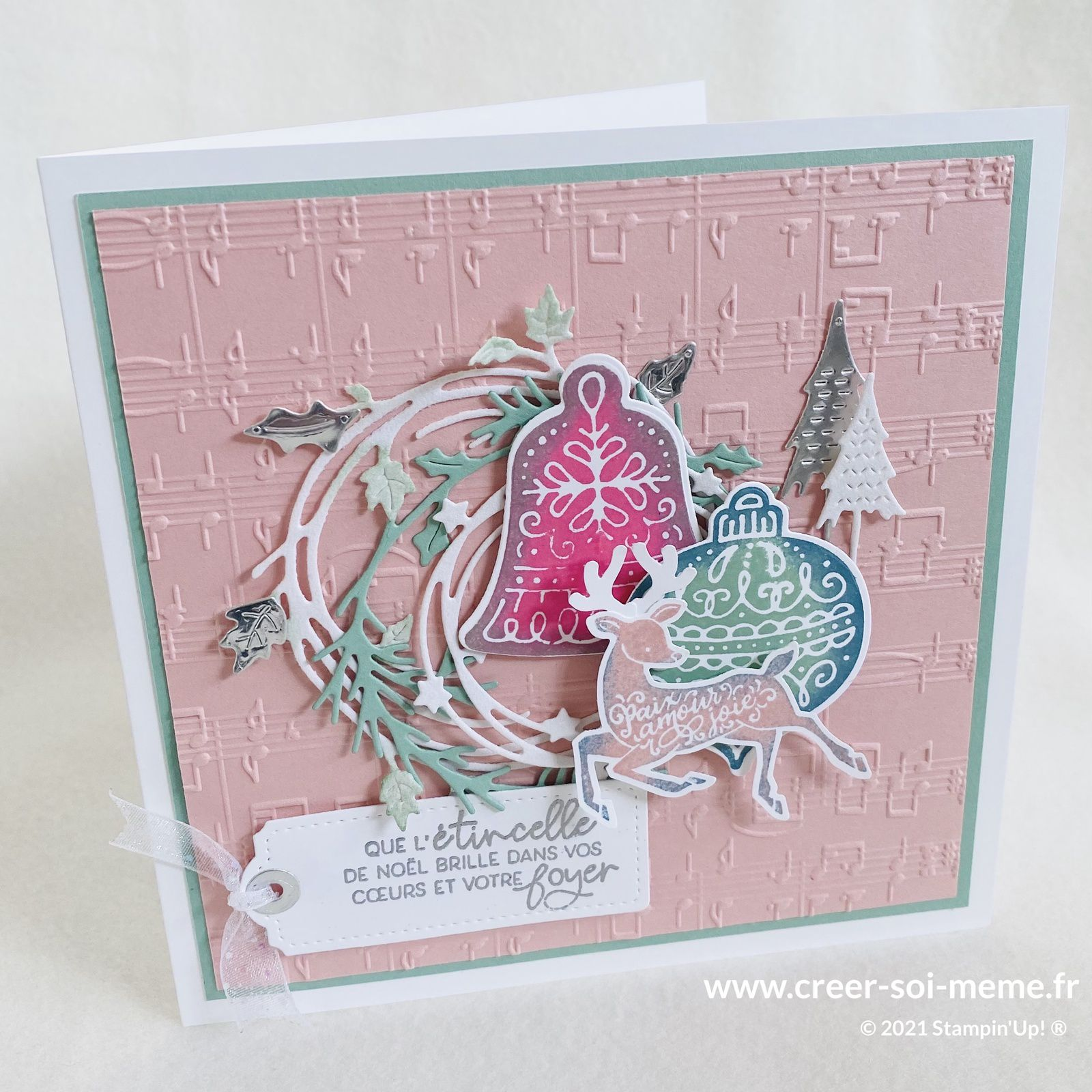 noel rose stampin up 2021 couleur pastel cerf chevreuil cloche boule sapin couronne fournitures