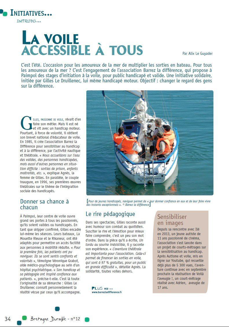 """Voile et handicap dans """"Bretagne Durable"""""""
