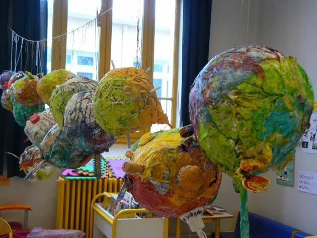 Fabrication de planètes en papier journal. Classes de petite et moyenne section maternelle. Ecole E.Renan B à Villeurbanne.