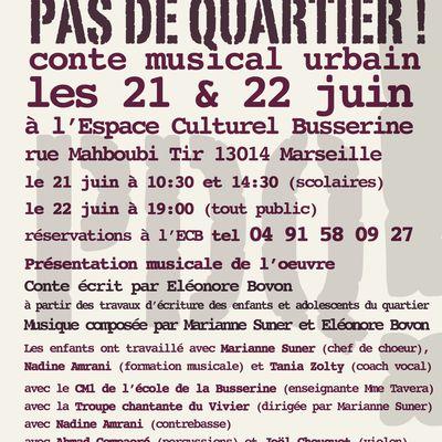 """""""Pas de quartier!"""" présentation musicale de l'oeuvre les 21 & 22 juin 2012"""
