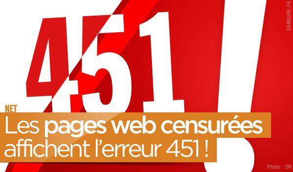 Les pages web censurées affichent l'erreur 451 ! #Error451