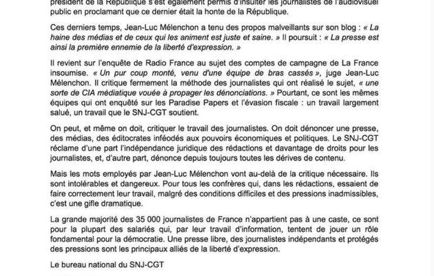 Jean-Luc Mélenchon et les journalistes : des propos choquants