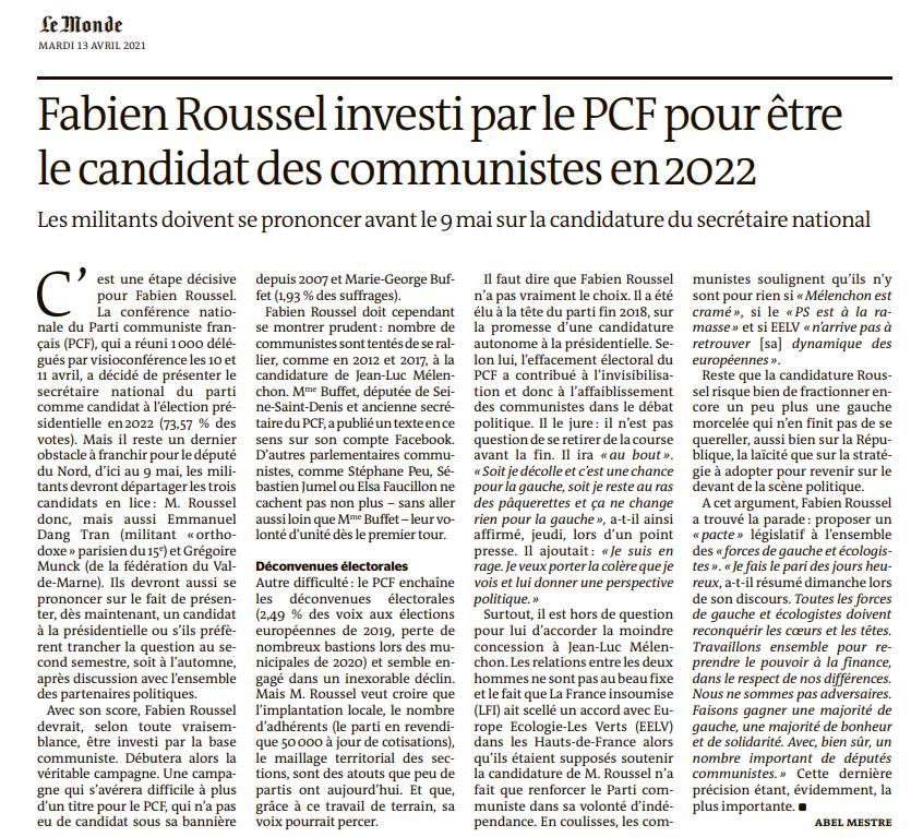 Election présidentielle 2022 : Fabien Roussel proposé pour être le candidat du PCF