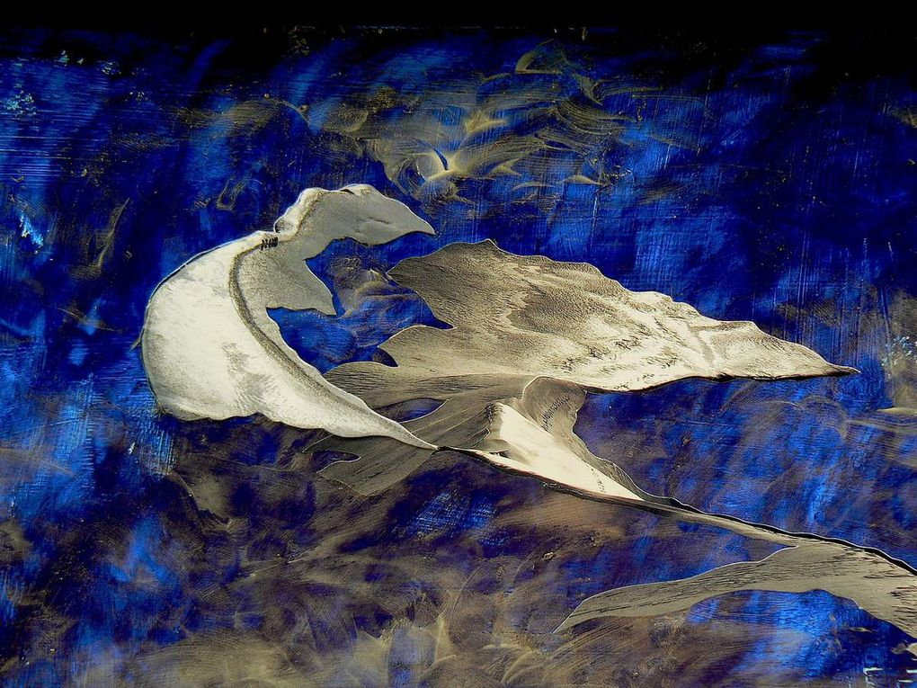 Peinture-collage sur plexiglas (100 x 100)
