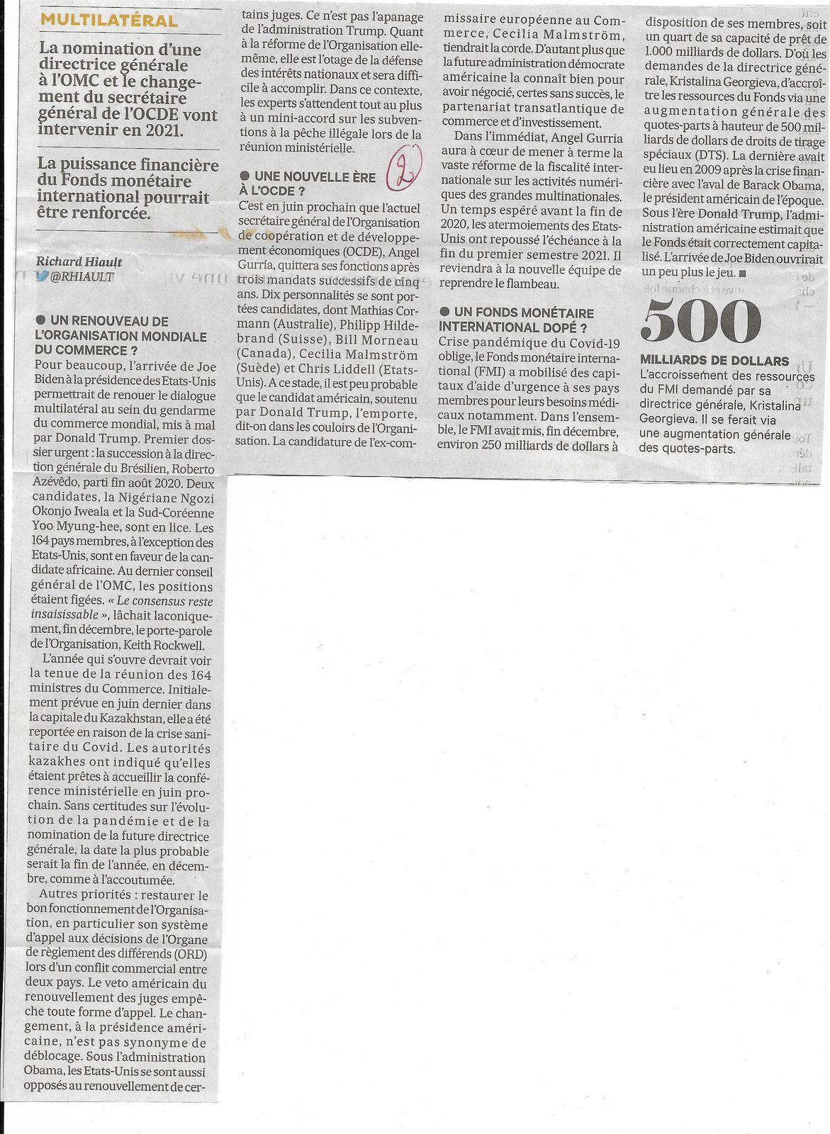 Vu et lu dans Les Echos du 04/01/21