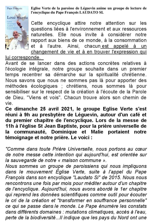 """Encyclique du Pape """"LAUDATO SI"""""""