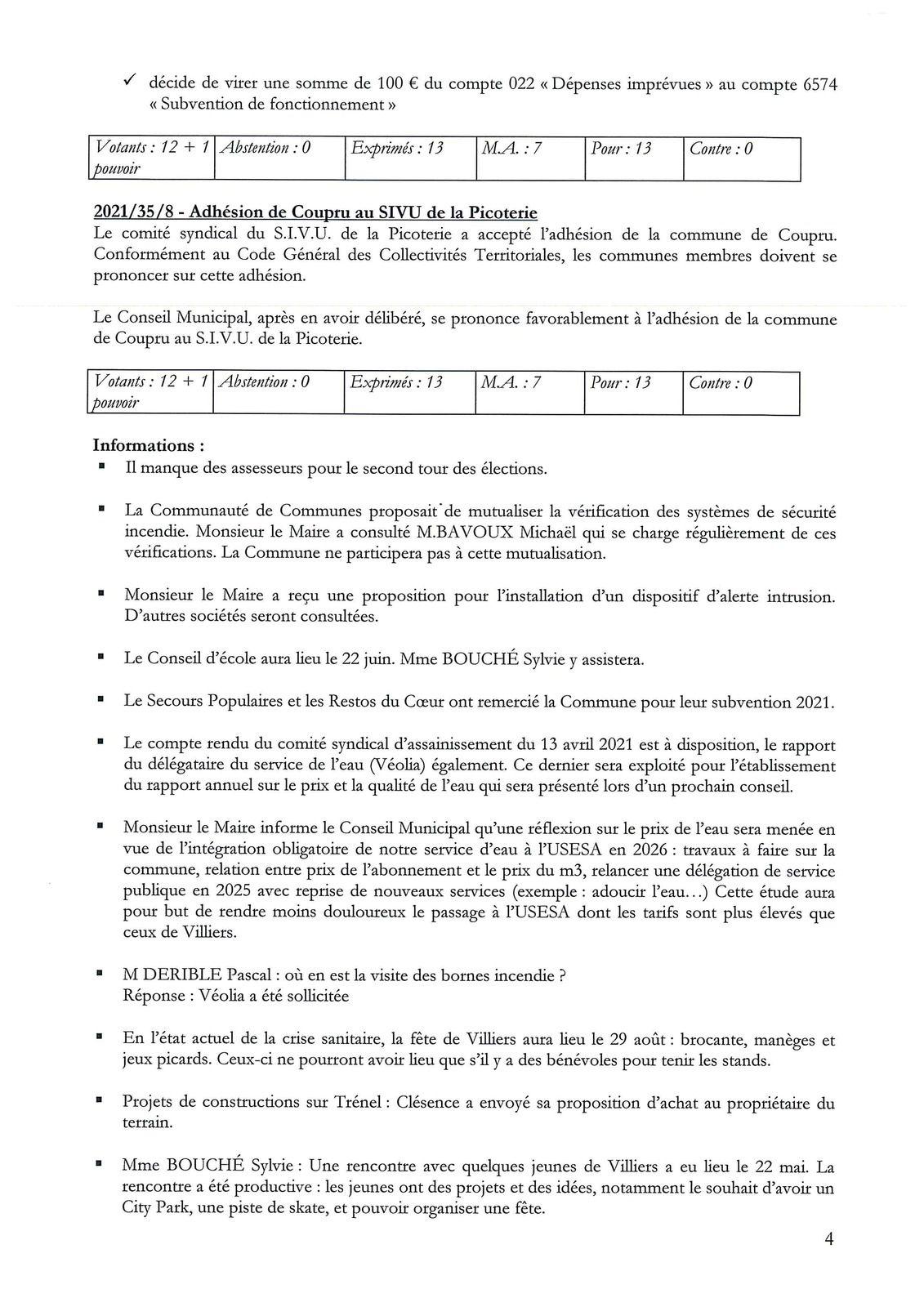 Compte rendu du Conseil Municipal - du 10 juin 2021