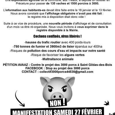 SAMEDI 27 FEVRIER 14h Mairie de Saint Gildas des Bois. Manifestation contre le projet des 3000 porcs.