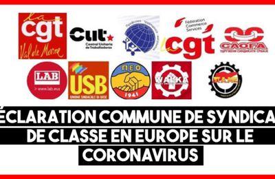 Front commun des syndicats de classe en Europe contre le coronavirus et les dangers pour les droits des travailleurs
