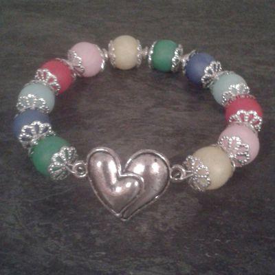 Bracelet cœur et perles Fimo pierres semi-précieuses