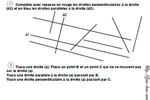 évaluation droites parallèles et droites perpendiculaires CM2