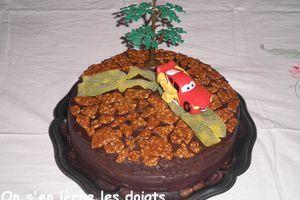 Sachertorte transformé en gâteau Cars pour les 9 ans d'Antoine