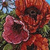Panels with poppies photo stitch free embroidery design