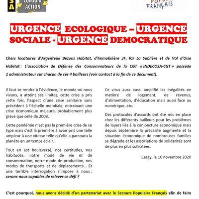 Partenariat Indecosa CGT 95 - Secours Populaire 95