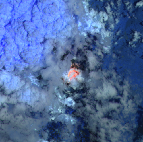Nyiragongo - image Sentinel-2 bands 12,11,8A du 08.10.2021 / 08h08  via Mounts pProject