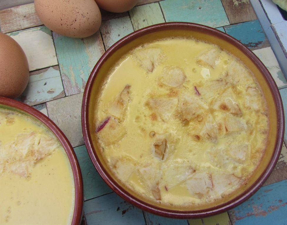 Oeufs au lait aux pommes caramélisées