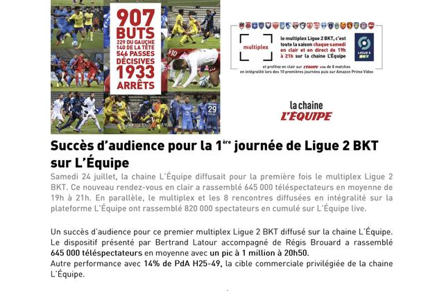 Audience satisfaisante pour le premier multiplex de Ligue 2 sur la chaîne L'Équipe.
