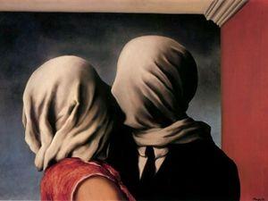"""""""Les Amants"""", René Magritte, 1928 / Guy Bourdin, photographie d'après Magritte"""