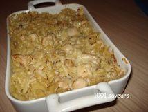 Gratin de pâtes et de poulet