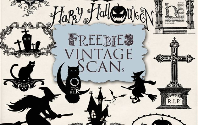 """Kit of Vintage Halloween Decor and Kit of Halloween Silhouettes and Decor""""."""