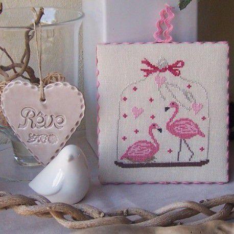 Flamants roses, un petit modèle à broder
