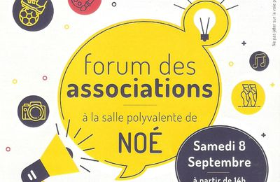 RDV au forum des Associations Noé 2018...