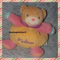 Doudou ours kaloo boule, velours, beige jaune rose bleu, doudoupeluche.fr