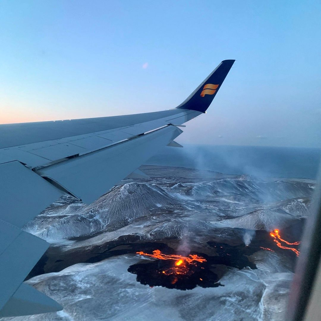 The eruptive site of Fagradalsfjall - Icelandair advertisement dated 19.04.2021