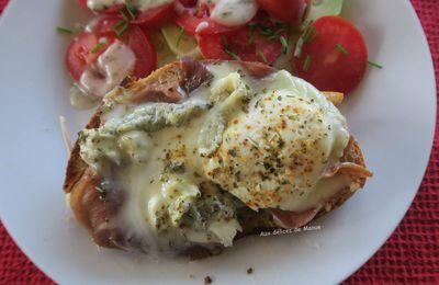 Bruschetta au jambon et chèvre au lait cru, au grill-plancha