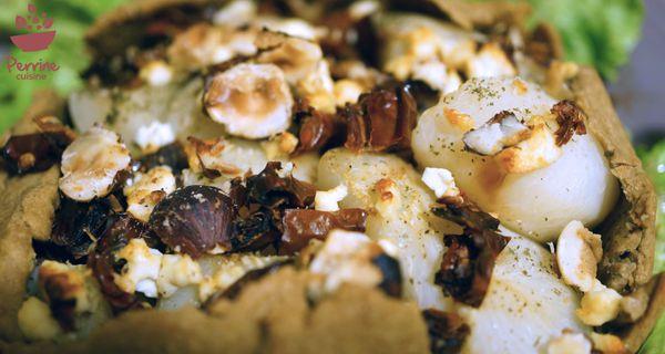 Tarte rustique aux navets, noisettes, feta et tomates séchées