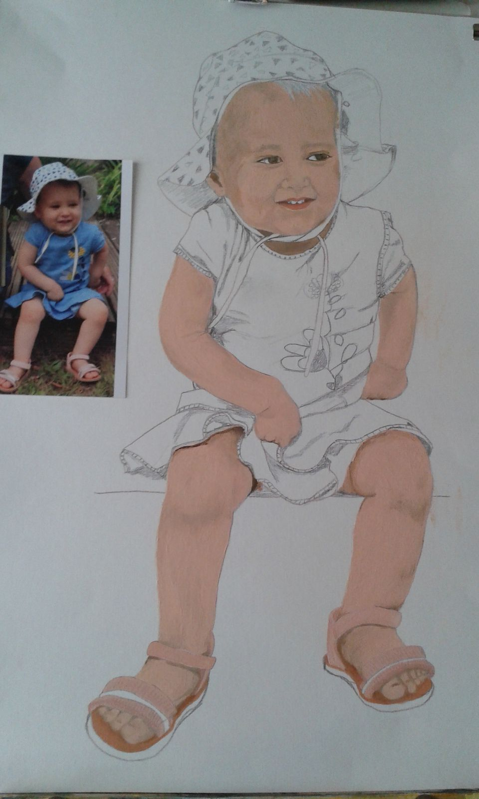 Portrait à l'huile de Sophia : palette de la couleur de la peau.